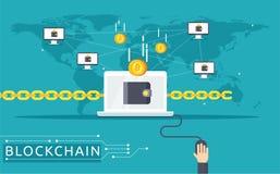Ejemplo del vector de Blockchain en estilo plano Imagenes de archivo