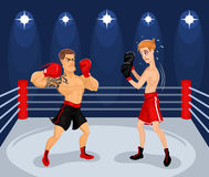 Ejemplo del vector de boxeadores en el anillo Foto de archivo