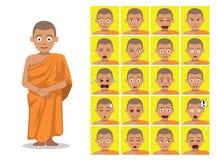 Ejemplo del vector de Cartoon Emotion Faces del monje budista de la religión Fotos de archivo libres de regalías