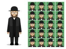Ejemplo del vector de Cartoon Emotion Faces del rabino del judaísmo de la religión Fotos de archivo libres de regalías