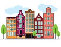 Ejemplo del vector de casas holandesas Foto de archivo libre de regalías