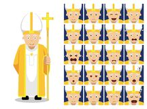 Ejemplo del vector de Christian Pope Cartoon Emotion Faces de la religión Foto de archivo