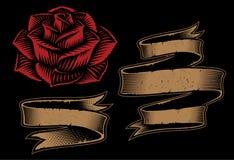 Ejemplo del vector de cintas y de la rosa en el fondo oscuro stock de ilustración