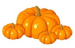 Ejemplo del vector de cuatro calabazas anaranjadas. stock de ilustración