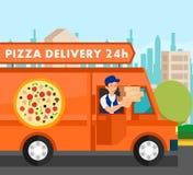 Ejemplo del vector de Delivering Food Orders del mensajero libre illustration