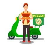 Ejemplo del vector de Delivering Pizza Flat del mensajero libre illustration