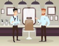 Ejemplo del vector de dos peluqueros barbudos que hacen el corte de pelo masculino de los clientes en barbería Concepto de la bar ilustración del vector