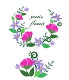 Ejemplo del vector de flores dulces coloridas Fotografía de archivo libre de regalías