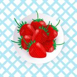 Ejemplo del vector de fresas frescas en la placa blanca ilustración del vector