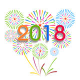 Ejemplo del vector de fuegos artificiales coloridos Tema 2018 de la Feliz Año Nuevo Fotos de archivo