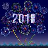 Ejemplo del vector de fuegos artificiales coloridos Tema 2018 de la Feliz Año Nuevo Foto de archivo