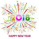 Ejemplo del vector de fuegos artificiales coloridos Tema 2018 de la Feliz Año Nuevo Fotografía de archivo