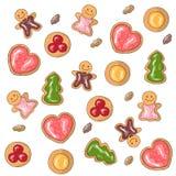 Ejemplo del vector de galletas coloreadas stock de ilustración