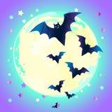 Ejemplo del vector de Halloween: aga lindo espeluznante del vuelo del palo del vector ilustración del vector