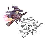 Ejemplo del vector de Halloween de la bruja divertida del vuelo de la historieta imagenes de archivo