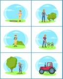 Ejemplo del vector de Holding Piglet Set del granjero stock de ilustración