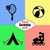 Ejemplo del vector de iconos planos Fin de semana y viaje Fotos de archivo libres de regalías