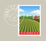 Ejemplo del vector de Iowa del campo de maíz y del granero rojo Foto de archivo libre de regalías