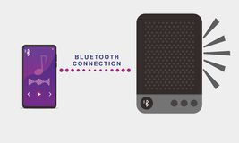 Ejemplo del vector de jugar música en smartphone usando altavoz del bluetooth libre illustration