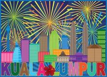 Ejemplo del vector de Kuala Lumpur Malaysia Skyline Fireworks ilustración del vector