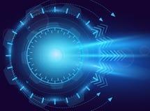 Ejemplo del vector de la abstracción digital Tecnología futura, ojo azul, laser, concepto del movimiento Fondo, extracto hola ilustración del vector