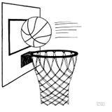 Ejemplo del vector de la acción de la bola y del tablero trasero, aro, anillo, red, equipo de la cesta Bosquejo drenado mano Negr stock de ilustración