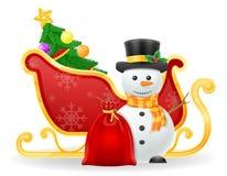 Ejemplo del vector de la acción del trineo de Papá Noel de la Navidad Imagen de archivo libre de regalías