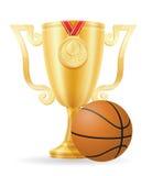 Ejemplo del vector de la acción de oro del ganador de la taza del baloncesto Fotos de archivo