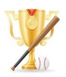 Ejemplo del vector de la acción de oro del ganador de la taza del béisbol Fotografía de archivo libre de regalías