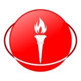 Ejemplo del vector de la antorcha, icono rojo Foto de archivo libre de regalías