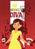 Ejemplo del vector de la bandera del amante del vino Carácter femenino alegre de la historieta con el pelo rizado en vestido con  ilustración del vector
