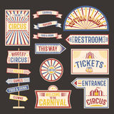 Ejemplo del vector de la bandera de la etiqueta del vintage del circo Imagen de archivo libre de regalías