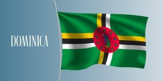 Ejemplo del vector de la bandera de Dominica que agita Elemento icónico del diseño stock de ilustración