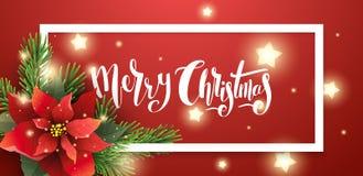 Ejemplo del vector de la bandera roja de la Navidad stock de ilustración