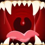 Ejemplo del vector de la boca abierta de la historieta con un enorme y un terrif ilustración del vector