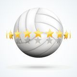 Ejemplo del vector de la bola del voleibol con de oro Fotografía de archivo libre de regalías