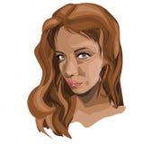Ejemplo del vector de la cara de una muchacha morena joven de la mujer con color marrón del pelo y ojos marrones foto de archivo libre de regalías