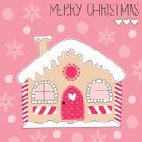 Ejemplo del vector de la casa de pan de jengibre de la Feliz Navidad stock de ilustración