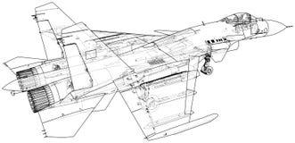 Ejemplo del vector de la caza a reacción Aero- Alca L-159 aviones Portador-basados Combatiente supersónico moderno creado ilustración del vector