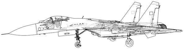 Ejemplo del vector de la caza a reacción Aero- Alca L-159 aviones Portador-basados Combatiente supersónico moderno creado stock de ilustración
