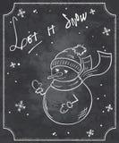 Ejemplo del vector de la cita de la Navidad del estilo de la pizarra con el muñeco de nieve y los copos de nieve divertidos Imagen de archivo libre de regalías
