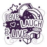 Ejemplo del vector de la cita viva de la risa blanco y negro del amor Foto de archivo libre de regalías