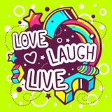 Ejemplo del vector de la cita viva de la risa colorida del amor Imagenes de archivo