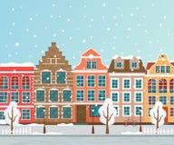 Ejemplo del vector de la ciudad europea del invierno Diseño plano Casas viejas libre illustration