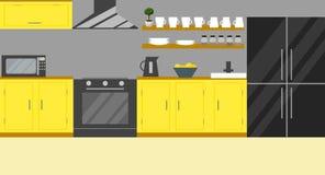 Ejemplo del vector de la cocina Diseño plano Imágenes de archivo libres de regalías