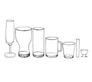 Ejemplo del vector de la colección de los vidrios Fotografía de archivo