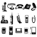 Iconos de la evolución del teléfono fijados Imagenes de archivo