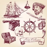 Ejemplo del vector de la colección del pirata Imágenes de archivo libres de regalías