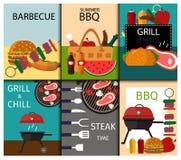 Ejemplo del vector de la comida de las banderas de la parrilla de la barbacoa Foto de archivo libre de regalías