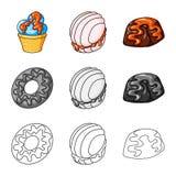 Ejemplo del vector de la confiter?a y del logotipo culinario Colecci?n de s?mbolo com?n de la confiter?a y del producto para la w ilustración del vector